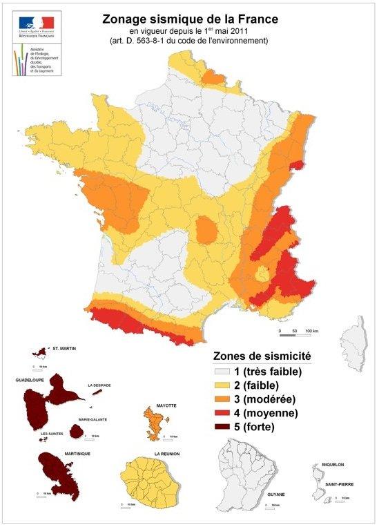 zones sismiques france
